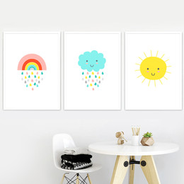kids canvas wall art Australia - Cartoon Rainbow Rain Cloud Sun Nordic Canvas Posters And Prints Wall Art Print Canvas Painting Wall Pictures Baby kids Room Deco