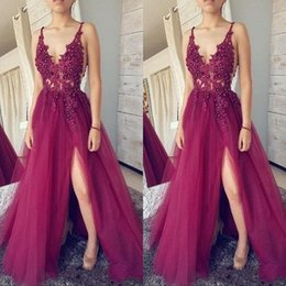 Discount gray formal top beaded gown - Cheap Deep V Neck Fuchsia Prom Dresses Lace Top Tulle Split Formal Evening Dresses Long Party Gowns