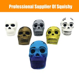 Skull cake online shopping - Squishy Toy Halloween Skull Head Slow Rising Soft Colorful Squeeze Bread Cake Kid Christmas Toy Gift Anti Stress Squishy