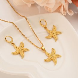 wholesale pendant sets NZ - african PNG lovely gold pendant Necklace Earring Set Women Party Gift starfish charms women girls Fine Jewelry gift