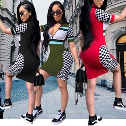 Wholesale clothes for skinny ladies for sale - Group buy Womens Designer Dress Sexy Zipper V neck Dresses Fashion Party Style Plaid Skinny Clothes Casual Striped Bodycon for Ladies Summer