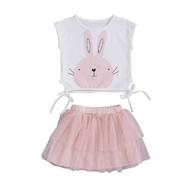 $enCountryForm.capitalKeyWord Australia - 6M-5T 2PCS Baby Girls Toddler Easter Bunny Sleeveless Shirt Tops Vest Tutu Skirts Party Outfit Cute Lovely Clothes Set