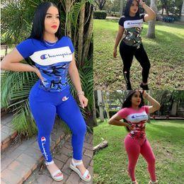 $enCountryForm.capitalKeyWord Australia - Champion Brand Camouflage Patchwork Women Designer Tracksuits Set Sport T shirts + Tights Pants Bodycon Sportswear Color Block Outfit C71501