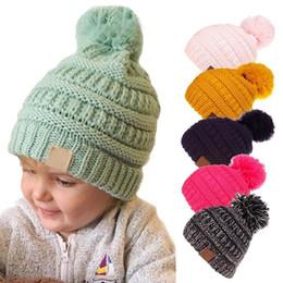 Toddler Skull Beanie Australia - Baby Toddler Knit Hat Crochet Hairball Beanie Cap Winter Ear Warmer Soft Casual Beanie Ski Cap for Children Kids Boys Girls