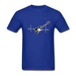 custom black bass guitar NZ - Bass Guitar Heartbeat Summer T Shirt Men Printed 2019 Fashion Custom Short Sleeve O Neck Valentine Gift Couple T Shirts