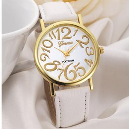 $enCountryForm.capitalKeyWord Australia - Big Face Dial Women Watch Golden Numbers Quartz Wristwatch girl fashion PU Leather reloj Big Number Figure PU Leather Strap