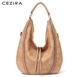 $enCountryForm.capitalKeyWord Australia - Cezira New Fashion Women Handbag Soft Ladies Pu Leather Tassel Girl's Shoulder Bag Big Large Female Studs Hobos Tote Bag Y19062003