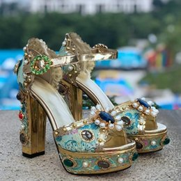 $enCountryForm.capitalKeyWord Australia - Summer Colorful Platform Block Heel Sandals Crystal Decorated Buckle Strap Women Shoes Party Fashion Show Female Sandals