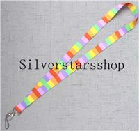 Phone Chain Color Australia - Mobile phone suspension chain with color stripes Lanyard ID Badge Holders Mobile Neck Key chains gifts