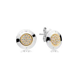 Discount pandora earrings women Yellow gold plated Classic disc EARRING for Sparkling Pandora Stud Earrings 925 Sterling Silver Women Mens Earrings set