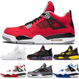 Discount men basketball shoes toro red - 4 Men Basketball Shoes Raptor Tattoo Black Cat Toro Bravo Fire Red White Cement Pure Money Oreo 4S Designer Sports Sneak
