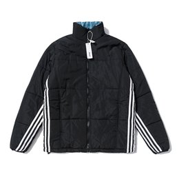 palace jacket UK - 2019 new PALACEs men and women loose casual triangle half high collar joint name three bars striped cotton jacket S-XL