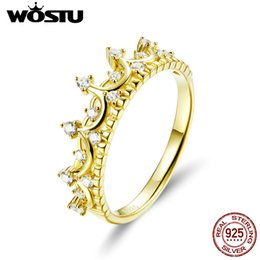 Discount crowns for queens - WOSTU Real 925 Sterling Silver Gold Color Queen Crown Ring Zircon Finger For Women Wedding Engagement Rings 925 Jewelry