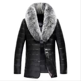 Wholesale leather sheepskin jacket for men resale online - 2020 Men s Leather Jacket Down Coat Winter Jackets for Men Sheepskin Duck Down Jacket Stand Fox Fur Collar Quality Leather Coat