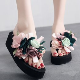 Wholesale Canvas High Shoes Australia - MoneRffi Flower Slides Women Sandals Wedge Platform High Heel Slippers Outdoor Summer Sandal Shoes Handmade Bohemia Female Shoes