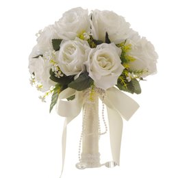 Artificial Christmas Bouquets UK - 2019 New Artificial White Flower Bouquet Wedding Bouquet Marriage Handmade Leaves Pearl Flowers Bridesmaid Wedding Bouquets