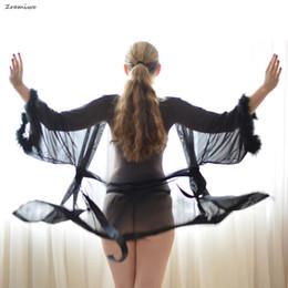 $enCountryForm.capitalKeyWord NZ - Fluffy Sheer Robe Mesh Lingerie Sets Nude Nightgown Chemise Sexy Negligee Soft Bathrobe C18112201