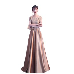 15b751aa463 2019 Scoop Neck Long Red Evening Dresses Arabic Golden Burgundy Tulle  Applique Beaded Floor Length Pageant Formal Party Gowns Prom