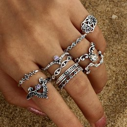 Hollow Fingers Australia - 10 Pcs Stone Ring Set Personality Hollow Rhinestone Fashion Finger Jewelry Vintage Ring Set for Nightclub Fashion Show Party