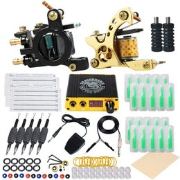 power grips pedals UK - Complete Tattoo Kit Liner Shader Coils Guns Tattoo Machines Power Supply Foot Pedal Needles Grips Tattoo Supply