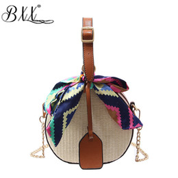 Discount woven spring handbags - BXX Bag   2019 New Spring And Summer Woemn Casual Straw Small Round Bags Fashion Woven Shoulder Messenger Bags Handbag K