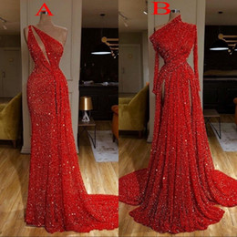 Wholesale dress t shirts new for sale – custom New Arrival Long Sleeve Red Mermaid Prom Dresses High Split Formal Evening Gowns robe de soiree