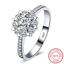 cz 925 china ring NZ - 100% Genuine Solitaire Ring Solid 925 Sterling Silver Jewelry Wedding Rings for Women Full CZ Diamond Zirconia Flower Ring XR020