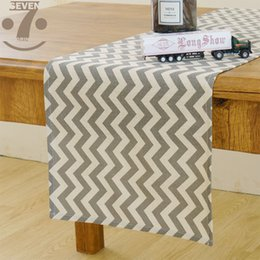 table runners cotton NZ - Free Shipping Home Decorative Gray wave Pattern Cotton Linen Table Runner