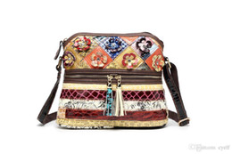 cotton tassels handmade UK - Pop2019 Delicate Handmade 100% Real Leather Shiny Patchwork Design Small Messenger Bags For Women Multi Colors Lady Handbags