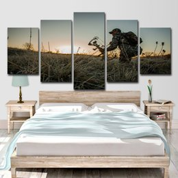 Discount oil paint grass - Canvas Wall Art Poster Home Decor For Living Room 5 Pieces Soldier Grass Patrol Landscape Paintings HD Prints Pictures