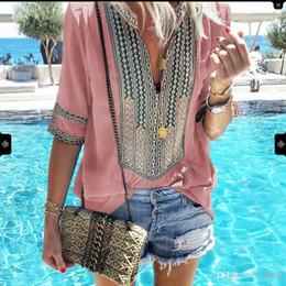 Wholesale women t shirts ethnic for sale – plus size Summer Popular T Shirts Top Stripe Deep V Mulit Colors Pluse Size Blouses Costume Ethnic Women Home Clothes lq E1