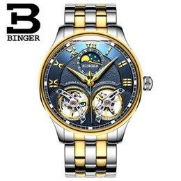 Wrist Watch Binger Australia - Binger New Mechanical Men Watches Skeleton Wrist Sapphire Waterproof Watch Men Clock Male Reloj Hombre