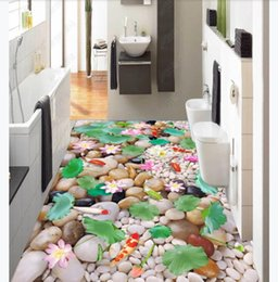 cobblestone flooring NZ - Customized 3D Self-adhesive floor photo mural wallpaper Cobblestone bedroom bathroom 3D Chinese style waterproof floor stickers
