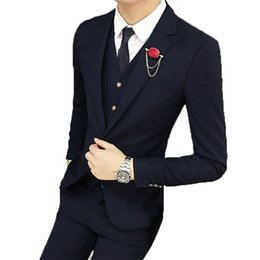 tuxedo suits for men slim UK - Wedding Suits For Men Black Notched Collar Slim Fit 3 Pieces (Jacket +Vest+Pants) Custom Made Wedding Groom Prom Tuxedos Suits