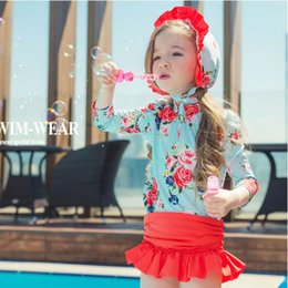flower girl dresses baby wear 2019 - New Models 1-12 Y Girl two piece Swimsuit Kid Baby Children Kid Swimwear Girls Flower Swim dress Wear Bathing Suit Swimm