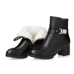Chinese  2017 New Elegant Cowhide Wool Winter Shoes Woman Snow Boots with Thick Cotton Plus Size Genuine Leather Boots Women Boots manufacturers