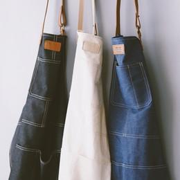 $enCountryForm.capitalKeyWord Australia - Fashion Nordic Style Whole Cotton Unisex Leather Denim Apron Coffee Shops Work Cleaning Aprons For Woman Kitchen Baking Daidle Q190603
