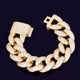 cuban links chain set Australia - 23mm 7 8 9inches Zircon Miami Cuban Link Bracelet Iced out Men Hip hop Jewelry Gold Silver Chain