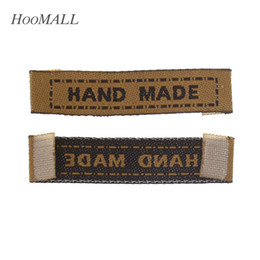 weave labels 2019 - tag football Hoomall Brand 100PCs Brown Woven Labels Garment Shirt Shoes Bags Label Clothing Labels   Embroidered Tag la