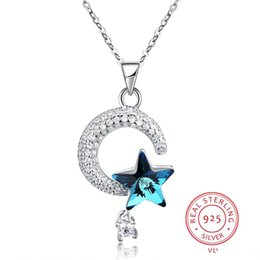 Blue Star Pendant Australia - 925 Prata Sterling Silver Necklace with CZ Zircon Shine Moon & Blue Crystal Star Pendant Long Necklaces for Women Party Gift Fashion Jewelry