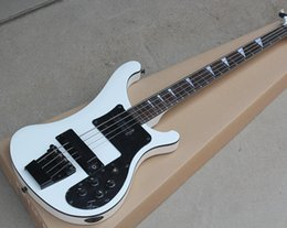 Bass fingerBoard online shopping - 2018 Factory Rick White Electric Bass Guitar with Strings Black Pickguard Rosewood Fingerboard Black Hardwares Good Quality