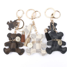 bears lanyard NZ - PU Leather Bear Key Chain Tassel Key Ring Car Bag Keychain For Women Jewelry Accessories Gift 12PCS