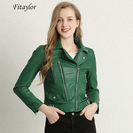 green jacket leather 2019 - New Autumn Faux Pu Leather Jacket Women Motorcycle Faux Soft Leather Basic Jackets Turn down Collar Zipper Female Coats