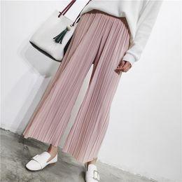 $enCountryForm.capitalKeyWord Australia - Spring 2019 Summer Pants High Waist Pleated Wide Leg Pants Women Solid Loose Casual Palazzo Pants Ladies Ankle Length Trousers