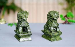 $enCountryForm.capitalKeyWord Australia - A Pair 100% Natural China Green Jade Carved Fengshui Foo Fu Dog Guard Door Lion statue Decoration