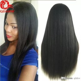ItalIan yakI straIght lace wIg online shopping - Afro Kinky Straight Full Lace Wig With Baby Hair Pre Plucked Transparent Hd Lacefront Italian Yaki Peruvian Lace Front Virgin Hair Wigs