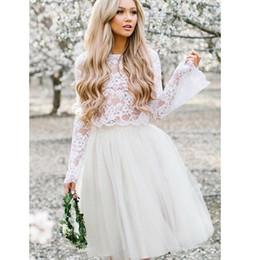 $enCountryForm.capitalKeyWord Australia - Long Stare Sleeves Wedding Dress Lace Knee Length Bride Dress Two-pieces Lace Top Beach Informal Dress Cheap Robe de mariee 2019