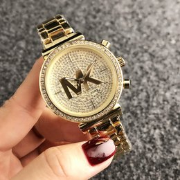 Fashion M crystal design Brand Watches women Girl MICHAEL Big letters style Metal steel band Quartz Wrist Watch M66 on Sale