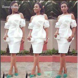 $enCountryForm.capitalKeyWord Australia - African Off Shoulder Sheath Mother of the Bride Dresses Satin Cocktail Party Dress Knee Length Short Formal Gowns