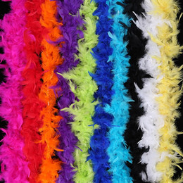 Turkey Feather Boas UK - 40g chandelle feather boa Faux feather strips for crafts Turkey Feather Boas marabou Costume dressup Wedding Fancy Party Decor 2M